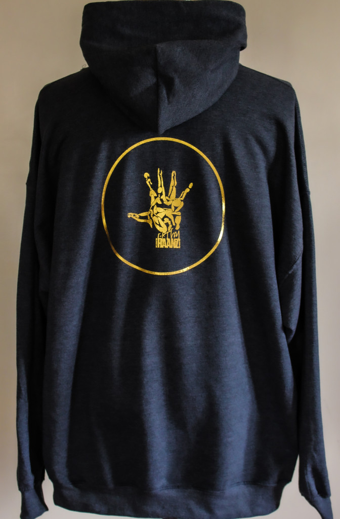 Dark grey pullover hoodie gold logo