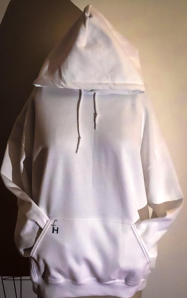 White pullover hoodie black logo