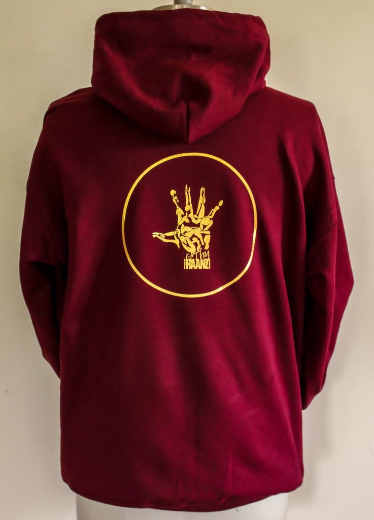 Burgundy wine pullover hoodie gold logo