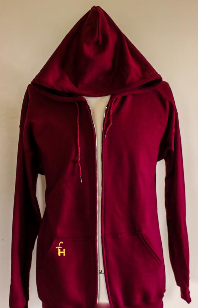 FH wear zip up burgundy hoodie