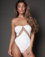 Strapless Mesh One-Piece Swimsuit