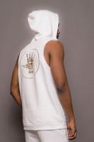 White Mens Sleeveless Hooded Logo Sweatshirt