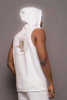 White Mens Sleeveless Hooded Logo Sweatshirt