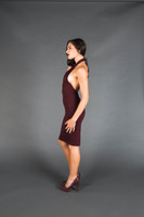 Burgundy Diamond Cutout Dress