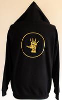 Black pullover hoodie gold logo