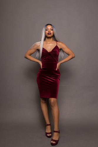 Red Velvet Twist Front Dress