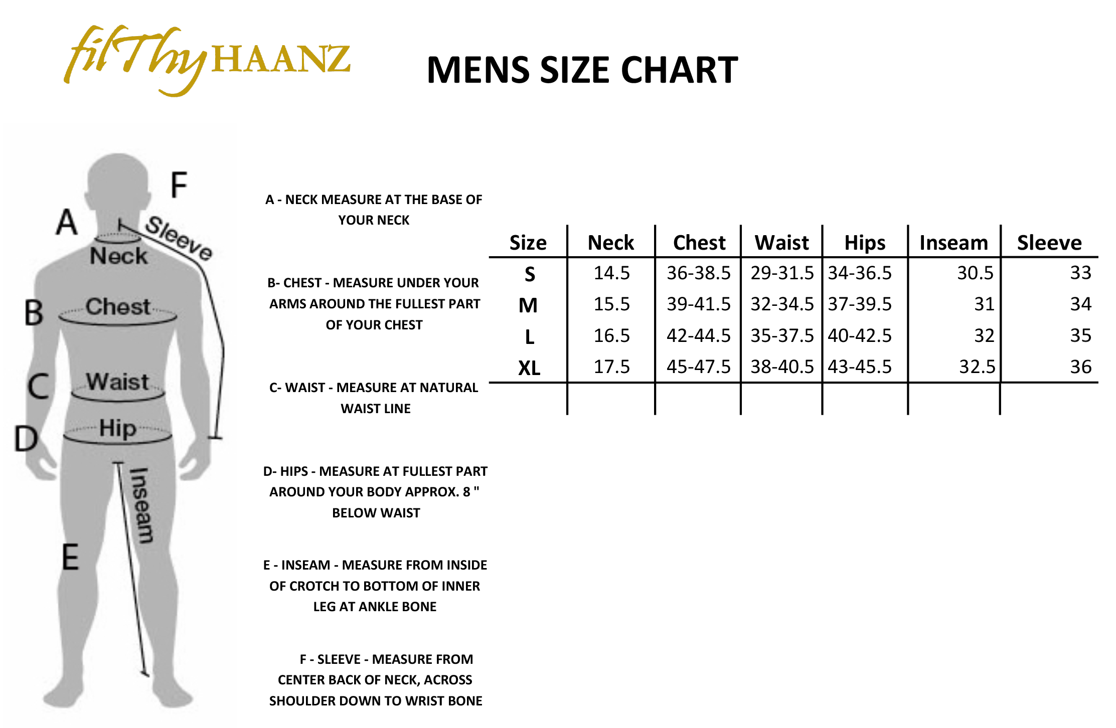 Official Size Guide - Filthyhaanz