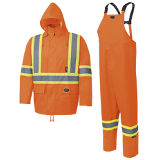 150D Hi-Viz Oxford Poly/PU Waterproof Suit | Pioneer