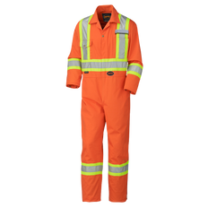 "• 7 oz (240 GSM) poly/cotton  • Suitable for industrial wash  • CSA Z96-15 Class 3 Level 2 and ANSI/ISEA 107-15 Class 3 Type P and R  • Double-stitched StarTech® reflective tape  • 2-way heavy-duty brass zipper  • 18"" brass leg zippers for easy boot access  • Adjustable snap wrists  • 7 storage pockets: 2 back, 2 chest, 2 side, 1 tool  • 2 pass-through pockets  • All pockets and key stress points bartacked for strength  • Action back and elastic waist"