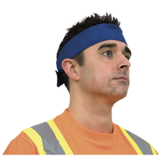 • 100% cotton blue strip head band  • Lined with 100% cooling PVA foam  • Activated by soaking into cool water and wringing out excess water gently  • Easy to tie on forehead, reusable  • Packed in hangable bag
