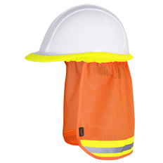 • Polyester mesh  • Elastic binding to attach to the edge of hard hat  • Lightweight and breathable  • Reflective tape for enhanced visibility  • Provides sun protection for neck and ears
