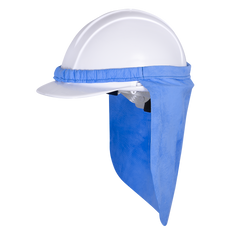 • Hard hat neck shade  • Super absorbent for cooling effect  • Activated by soaking into cool water and wringing out excess water gently  • Elastic binding to attach to hard hat brim  • Provides solid sun protection for ears and neck  • Individually packed in a hangable bag
