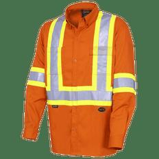 • Lightweight, ultra-cool, hi-viz work shirt  • 100% hi-viz cotton twill, 5.9 oz (200 GSM)  • Double-stitched StarTech® reflective tape  • CSA Z96-15 Class 2 Level 2  • 2 chest pockets (1 with flap and pen slot)  • Button-down collar