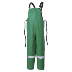 """• 10 oz/yd² FR PVC/polyester  • Meets CGSB 155.20-2000, Type 3  • Recommended for """"Momentary Protection from Open Flame""""  • Resistant to chemicals as per ASTM F739-07  • P43 035 - StarTech® FR reflective tape  • Single bib design  • Adjustable 1-1/4"""" elastic suspenders with spreader bar and nylon slides provide support and comfort  • Durable reinforced waist ties for snug fit  • RF welded watertight seams  • Generous styling fits over work clothes  • P43 085 - Inner elastic cuffs at bottom, double knee"""