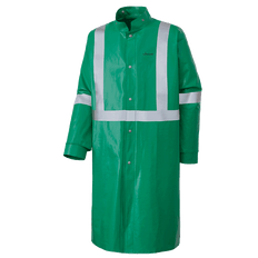 "• 10 oz/yd² FR PVC/polyester  • Meets CGSB 155.20-2000, Type 3  • Recommended for ""Momentary Protection from Open Flame""  • Resistant to chemicals as per ASTM F739-07  • Meets CSA Class 1 Level 2  • StarTech® FR reflective tape  • Dolman sleeves for ease of movement and added comfort  • Collar with snaps to attach hood (sold separately)  • Snap front closure  • Inner cone cuff designed to grip glove and create a seal around wrist  • Durable non-conductive plastic snaps  • RF welded watertight seams  • Generous styling fits over work clothes"