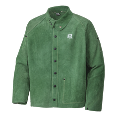 """• T-90 5-ply Kevlar® seams for increased durability  • Riveted stress points and reinforced snaps for durability  • Soap stone shoulder pocket  • Fully adjustable waist, cuffs and collar  • 30"""" length  • Green supple side-split leather  • Exclusive lined shoulder for freer movement, less fatigue and easier on and off  • Leather inner pocket"""