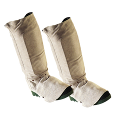 """• 14"""" upper  • Pearl grey heat-resistant rugged side-split cowhide  • Hook and loop closure  • Shin protector  • Wool lined  • Adjustable metal stay in flare  • Reinforcing rivets at stress points"""