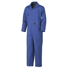 • 100% cotton, FR treated, 10 oz (340 GSM)  • Meets CGSB 155.20-2017  • Thermal Protective Performance (TPP) value with the spacer: 11 / contact test: 8.5  • Meets ASTM F1506-10a, NFPA 70E and CSA Z462-15  • ATPV 9.5 cal/cm² (Arc Thermal Protective Value)  • ARC 2 Arc Rating Category  • Sewn with inherently FR thread  • 2-way brass FR non-locking zipper  • 7 storage pockets: 2 back, 2 chest, 2 side, 1 tool  • Pass-through pocket on right side  • Action back and elastic waist  • Adjustable wrists and ankles