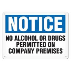 OSHA Safety Sign | Notice No Alcohol  | Incom