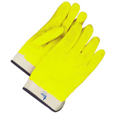 Hi-Viz PVC/NBR Coated Gloves With Safety Cuff | (12PK) | BDG