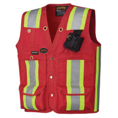 Hi-Vis Surveyor/Supervisor Pocket Safety Vest - Pioneer Startech - 695