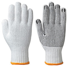Knitted Poly/Cotton Glove with PVC Dots on Palm 12 Pk Pioneer 502 White