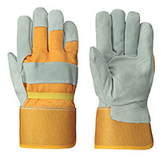 Cowsplit Glove - Grey 1-Pc Palm - Yellow Back - Foam Lined Red Flannel (12Pk) |