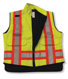 Poly/Cotton Supervisor Safety Vest (Lime Green) | Big K Clothing