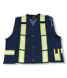 100% Cotton Navy Blue Supervisor Safety Vest | Big K Clothing