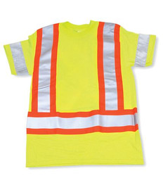 Lime Green 100% Polyester Traffic Safety T-Shirt