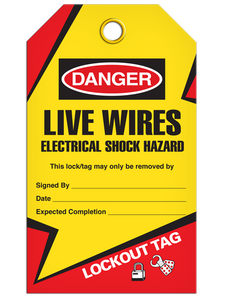 Danger – Live Wires Tag Electrical Shock Hazard - Lockout | Pkg/25 | Incom