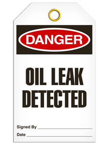Danger - Oil Leak Detected | Pack /25 | Incom