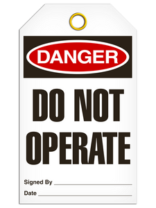 Danger DO NOT OPERATE Safety Tag - 25 Pkg - Incom - TG1000