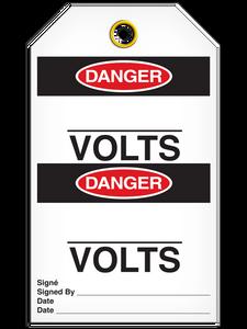 Bilingual Danger – _____ Volts Tag   Pack of 25   Incom