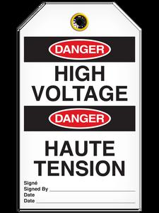 Bilingual Danger – High Voltage Tag   Pack of 25   Incom