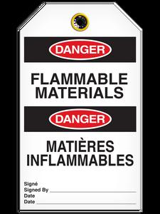 Bilingual Danger – Flammable Materials Tag    Pack of 25   Incom