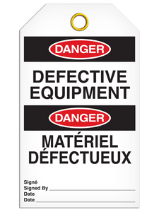 Bilingual Danger – Defective Equipment Tag    Pack of 25   Incom