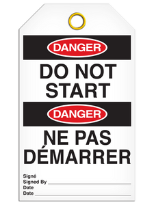Bilingual Danger – Do Not Start Tag    Pack of 25   Incom