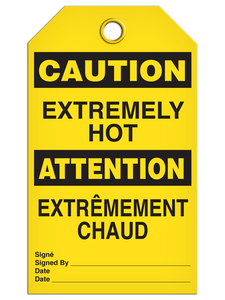 Bilingual Caution – Extremely Hot Tag  | Pack of 25 | Incom