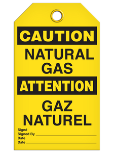 Bilingual Caution – Natural Gas    Pack of 25   Incom