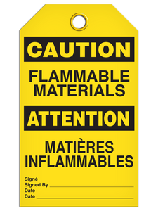 Bilingual Caution – Flammable Materials  | Pack of 25 | Incom