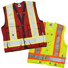 Hi-Vis Open Road Surveyor Safety Vest CSA, Class 1 & 2 Viking - 6165 O/G/R/B