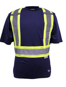 Hi-Vis Cotton-Lined Safety T-Shirt - CSA, Class 1 - Viking 6000N Navy