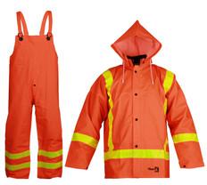 Hi-Vis Premium Fire Resistant PVC Rain Suit 3-Piece Viking - 2110FR