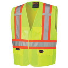 Hi-Vis Tricot Safety Vest - CSA, Class 1 & 2 - Pioneer - 131 Yellow