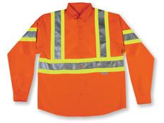 Hi-Vis 100% Cotton Button-Up Safety Shirt - CSA, Class 1 Level 2 - Big K - 555ORG