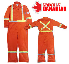 Hi-Vis Fire Resistant Premium Safety Coverall - CSA, Class 2 - Protecting U - SSC1006/ORG