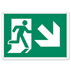 Fire Signs - Running Man Sign   Exit Down Right