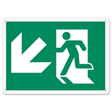 Fire Signs - Running Man Sign | Exit Down Left