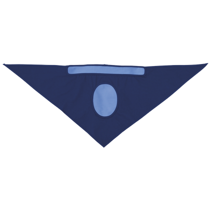 • 100% cotton blue triangle bandana  • Lined with 100% cooling PVA foam on top and forehead  • Activated by soaking into cool water and wringing out excess water gently  • Easy to tie on forehead, reusable  • Packed in hangable bag